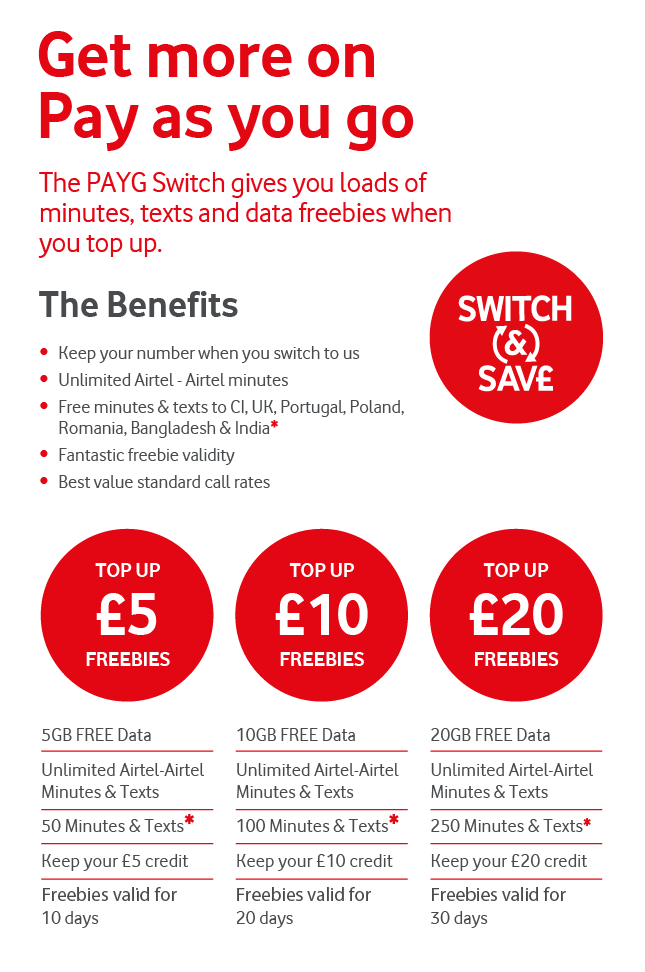 Vodafone Payg Top Up >> Pay As You Go Plans Products And Services Discover Airtel Vodafone