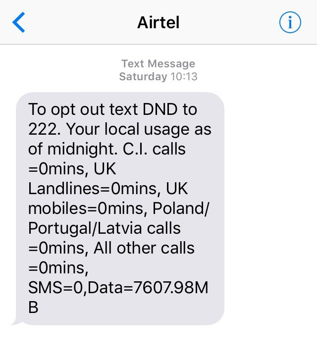 Daily Usage SMS Alerts | How to guides | Support | Airtel
