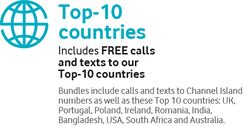 Top-10 countries, Includes FREE callsand texts to our Top-10 countries